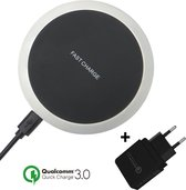 iSetchi Draadloze Qi Oplader (15W snellader)  - Inclusief Quick Charge 3.0 Stekker - Draadloos Opladen Station - Voor iPhone/Apple - Samsung -Android