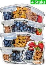 MEALE® - Glazen Meal Prep Bakjes 4 Stuks - Deksel inclusief Bestek - Maaltijdbakjes 3 Vakken - Vershoud Lunchbox - Food prep containers - Mealprep 3 Compartimenten - Doorzichtig
