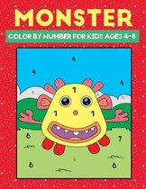 monster color by number for kids ages 4-8