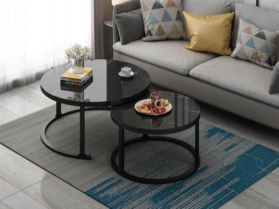 Bol Com Swiss Homes Salontafel Set Van 2 Marmer Look O80 O 80 O 45 Cm Bijzettafel