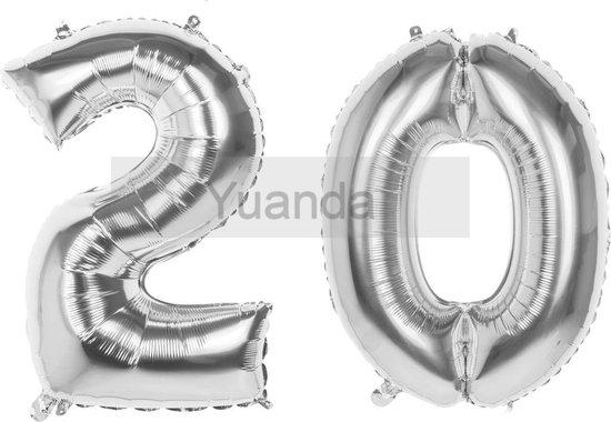 20 Jaar Folie Ballonnen Zilver- Happy Birthday - Foil Balloon - Versiering - Verjaardag - Man / Vrouw - Feest - Inclusief Opblaas Stokje & Clip - XXL - 115 cm