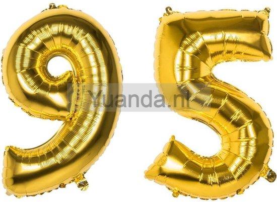 95 Jaar Folie Ballonnen Goud - Happy Birthday - Foil Balloon - Versiering - Verjaardag - Man / Vrouw - Feest - Inclusief Opblaas Stokje & Clip - XXL - 115 cm