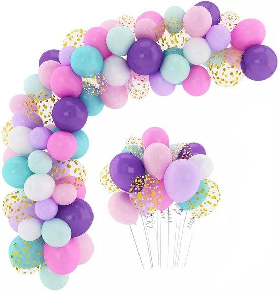 Baloba® BallonnenBoog Paars, Roze, Lichtgroen, Goud - Feest Versiering met Papieren Confetti Ballonnen - Verjaardag Kinderfeest Versiering - 165 Helium Ballonnen