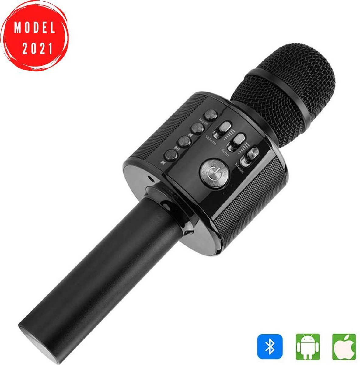 Karaoke Microfoon - Draadloos - Bluetooth Verbinding - Zwart
