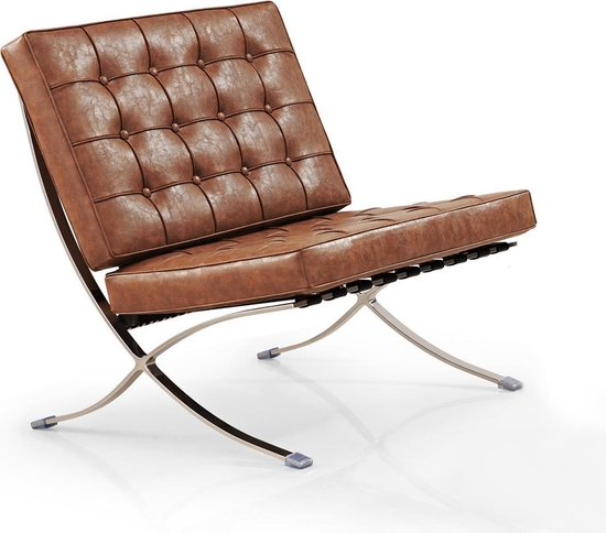 Barcelona Chair (replica) Vintage brown | Barcelona stoel