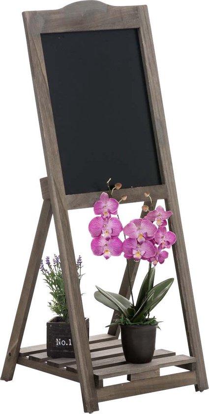 Clp Houten memo bord JENNY ladderrek met krijtbord, staand rek in landhuisstijl met 1 legplank, bloemenrek - Donkerbruin - Clp
