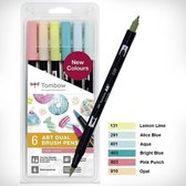 Tombow Brush pen ABT Dual Brush Pen Set off 6 Candy Colours