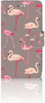 Motorola Moto C Plus Uniek Wallet Book Case Hoesje Flamingo