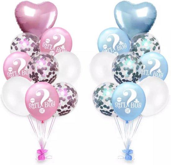 Gender Reveal Party Decoratie Ballonnenset - Gender Reveal Ballonnen Helium - Boy or Girl - Babyshower versiering Set Deluxe