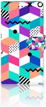 Nokia 3.1 Plus Wallet Book Case Design Blocks Colorful