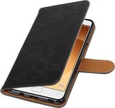 Zwart Pull-Up PU booktype wallet cover hoesje voor Samsung Galaxy C9