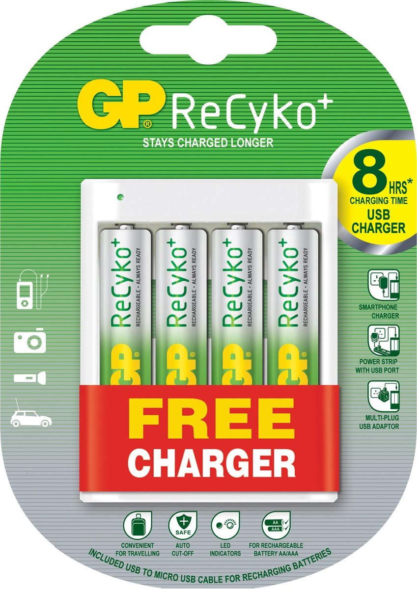GP AA batterij oplaader op USB met 4 batterijen - GP