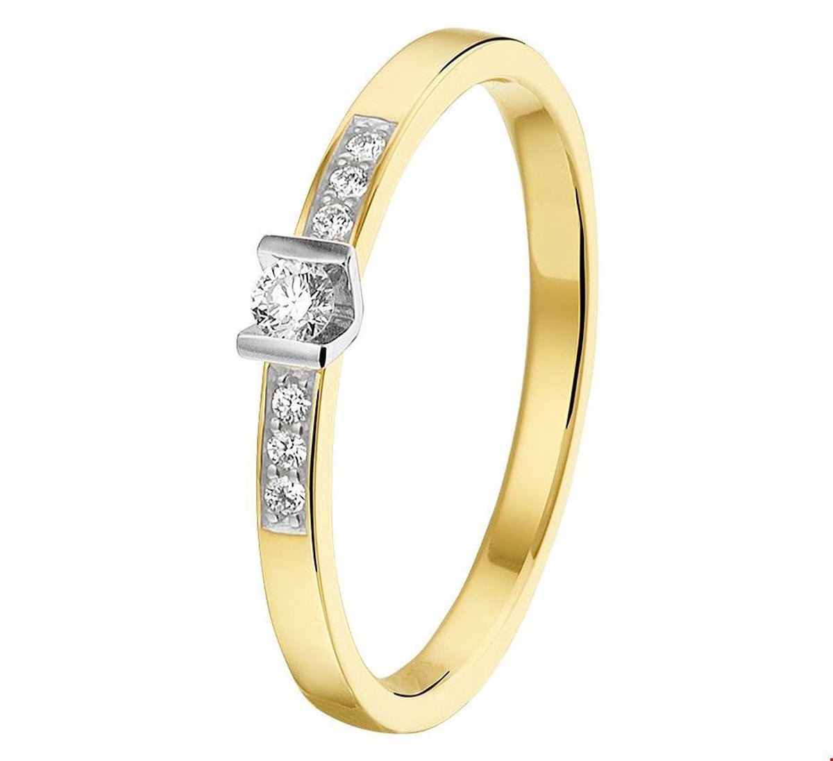 TFT Ring Diamant 0.085ct H SI Bicolor Goud