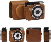 Vintage Case Cover Hoes Voor Fujifilm Square SQ6 - Inclusief Draagriem - PU Leder Bruin
