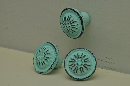Kastknop, Vintage, Mint Groen, Bol, per 3 verpakt