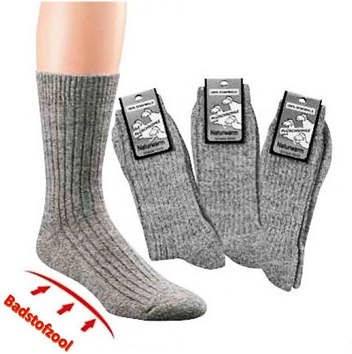 100% Schapenwol - Badstof Zool - Zonder Elastiek Multipack Unisex Sokken - 43-46 - Merkloos