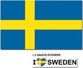 Zweedse vlag met 2 gratis Zweden stickers