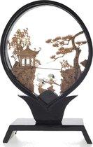 Kurk schilderij- chinees 3D schilderij - Botanisch schilderij- bruin 15.5 cm