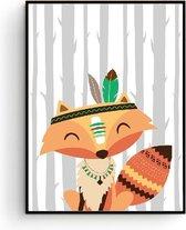Postercity - Design Canvas Poster Indianen Vos/ Kinderkamer / Muurdecoratie / 40 x 30cm / A3