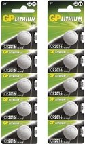 10 Stuks (2 blisters a 5st) - GP CR2016 3V lithium knoopcel batterij