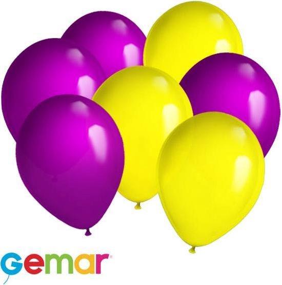 30x Ballonnen Paars en Geel (Ook geschikt voor Helium)