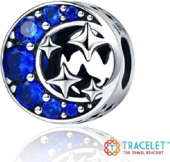 Zilveren bedel Algemeen   Bedel Maan met sterren rond  Bedels Charms Beads   925 sterling silver   net zo waardevol als pandora maar dan goedkoop   direct snel leverbaar      Moederdag