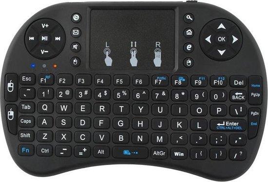 Universeel Mini Draadloos Mediacenter Toetsenbord Wireless Touchpad PC Windows Android Smart TV Console BOX USB QWERTY Keyboard Zwart