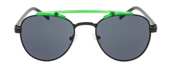 Icon Eyewear  Zonnebril KODIAK - Zwart montuur met neon groen detail - Grijze glazen