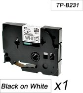1x Brother Tze-231 TZ-231 Compatible voor Brother P-touch Label Tapes - Zwart op Wit -12mm