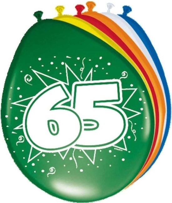 16x stuks Ballonnen versiering 65 jaar