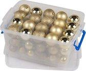 Kerstballen/kerstversiering goud in box 70 stuks