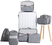 Packing Cubes - 7 Delige - Koffer Organizer Set - Premium Kwaliteit - Grijs