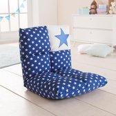 howa 2 in 1 Kinderfauteuil + Kinderlounger - 6-voudig verstelbare rugleuning blauw / wit 8600