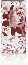 Motorola Moto E5 Plus Wallet Book Case Hoesje Watercolor Flowers