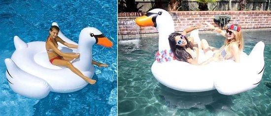 XXL Opblaasbare Zwaan - Opblaas Zwembad Speelgoed - Ride-On Drijvend Mega Luchtbed - Wit