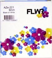 FLWR - Printetiket / TZe-221 / Zwart op Wit - geschikt voor Brother