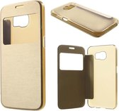 Shop4 - Samsung Galaxy S6 Hoesje - Window View Case Brushed Goud