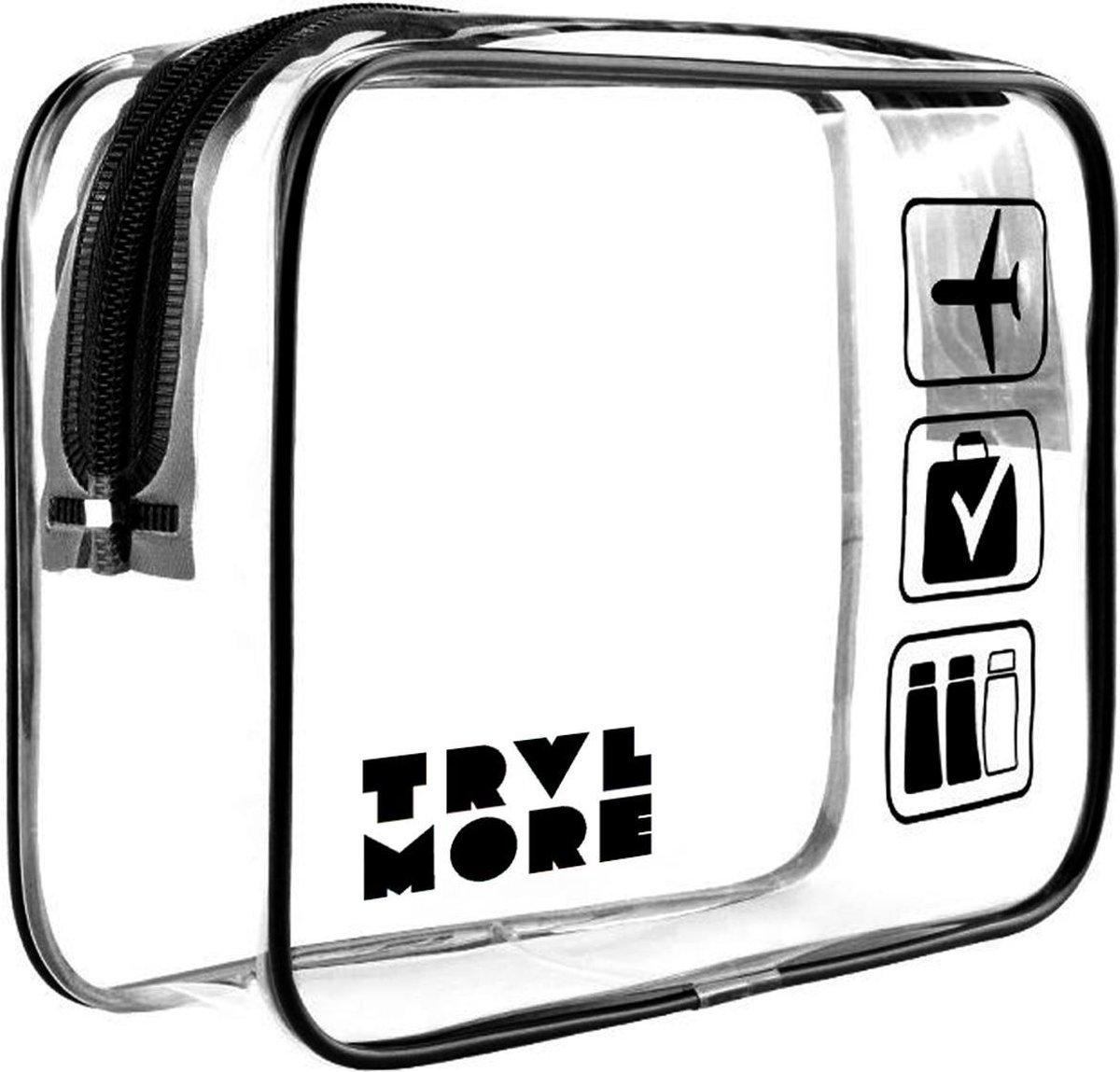 TravelMore Transparante Toilettas - Doorzichtige Make Up en Cosmetica Tas - Vloeistoffen Etui - Trav
