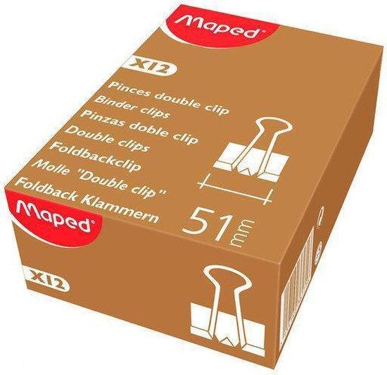 Papierklemmen foldback - 51 mm - Zwart - 12 stuks