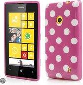 Dots silicone case hoesje Nokia Lumia 520 donker roze