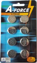 Blisterverpakking - A-Force Powerfull Lithium CR2032 - Knoopbatterij - Knoopcel -  3 Volt - 8 stuks