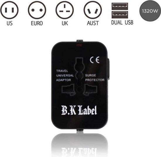 B.K Label universele reisstekker met 2 usb-poorten-internationale-reis-adapter-voor-150-landen-engeland-amerika-australie-azie-zuid-amerika-afrika-wereld-stekker-oplader-zwart