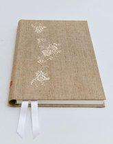 notitieboeken- dagboek- luxe journal- luxe notitieboek-  Linnen stof met creme borduursel- (A5)