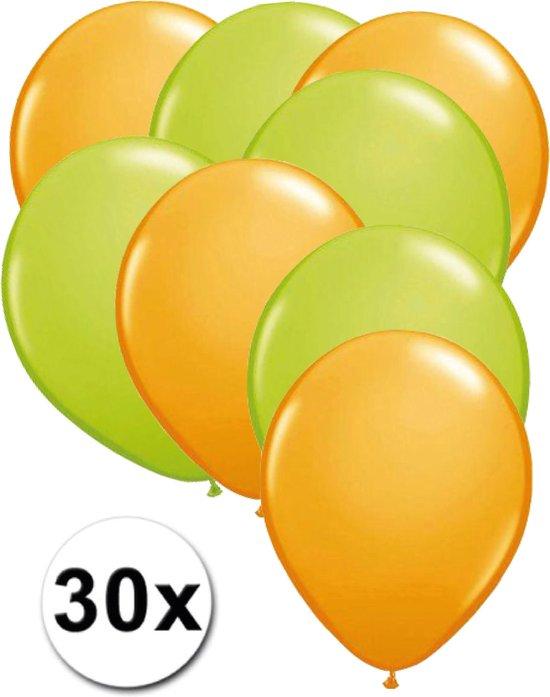 Ballonnen Licht Oranje/Licht Groen 30 stuks 27 cm