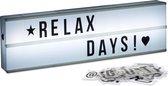 relaxdays Lichtbak met letters en symbolen - LED lightbox - op batterijen - 50 x 15 cm