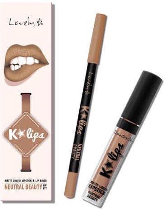 Lovely K-Lips Matte Liquid Lipstick & Lip liner Neutral Beauty - Lovely