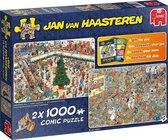 Afbeelding van Jan van Haasteren Kerst Koopjes en Black Friday Legpuzzels 2in1 2 x 1000 Stukjes