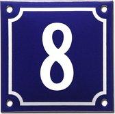 Emaille huisnummer blauw/wit nr. 8