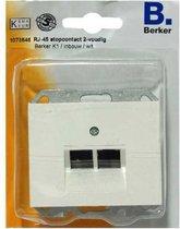BERKER K1 RJ-45 stopcontact 2-voudig, inbouw | WIT