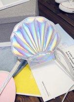 Zilver iridescent holografisch schelp tasje zeemeermin - tas mermaid glitter PVC zilveren metallic glanzend klein schoudertasje